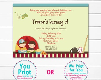 Boys Sleepover Birthday Party Invitation -- boys campout - boys slumber party--  you print or I print