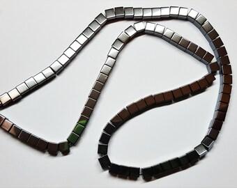 """4mm Cube Hemalyke (manmade) 16"""" Strand Beads"""
