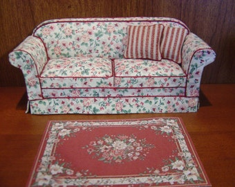 Dollhouse Aubusson rug red OR yellow 1:12 scale