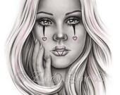 Sweet as Candy Chicano Tattoo Clown Girl Heart Makeup Art Print Glossy Emo Fantasy Girl Zindy Nielsen