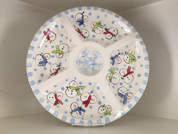 Hand Painted, ceramic snowman sectional server, snowman chip and dip, snowman platter, snowman lover, snowman plate, snowman tableware