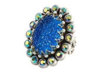 Vintage Blue Aurore Boreale Oval Ring - Adjustable 1310185