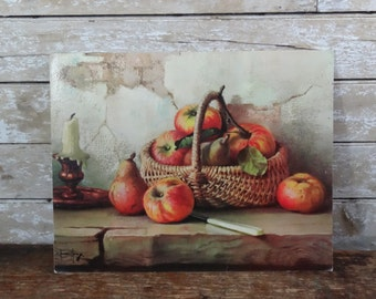 Vintage Retro Apple Print From Hardboard Still Life Apples