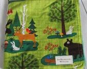 Ready to ship // Kaufman Forest Fun Moose Fabric and Hunter Green Minky Dot Security Blanket Lovey