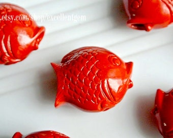 7% off, Red pendant, Fish beads, Carved beads, Red beads, Spacer beads, Vintage beads, Cinnabar Fish beads in red color. 25mm* 30mm-#7084