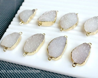 Druzy Druzy connector, 7% off Agate druzy connector 24kt Gold Plated Edge Geode agate in Natural color, gemstone Pendant, JSP-9311