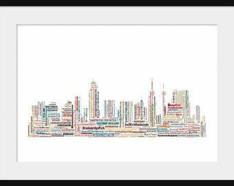 San Antonio Skyline  - Word Art Typography - Typographical - Print Poster Color