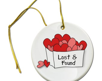 Valentines Day Lost & Found on a Hanging Ceramic Ornament