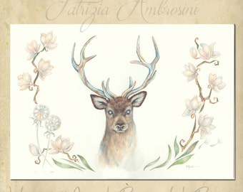 SALE Original 11,8 x 8,08 Watercolour DEER with Magnolia  nOT a pRINT ..Original Painting, blossom,bloom,botanical ,fine art,plant, flower