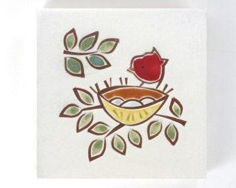 "Red Bird and Bird Nest handmade ceramic wall hanging, tile or coaster 4""x4"""