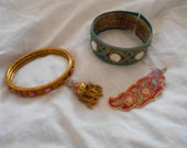 VTG JEWELRY LOT 2 vtg bracelets from india one vintage brass barrette with folklore like scene