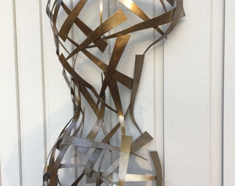Earth tone metal art torso Abstract Metal Wall art Sculpture by Holly Lentz