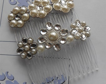 Bridal Hair Combs, Pearl Crystal Flower Comb