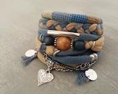 Bohemian Bracelet - Camel Teal Bracelet - Gypsy Bracelet - Gypsy Jewelry - Multiple Strands Bracelet Hippie Style - Boho Bracelets Stack