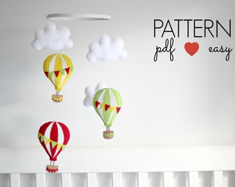 Hot Air Balloon Sewing Pattern, Baby Mobile Pattern, Garland Sewing Pattern, DIY Baby Mobile, Air Balloon Nursery Decor