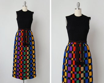 vintage 1970s dress / 70s maxi dress / wool 70s dress / Les Nids dress