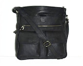 "11""x12"" BLACK Leather Bag // Leather Messenger Bag // Leather Cross-body Purse // Leather Handbag Iris"