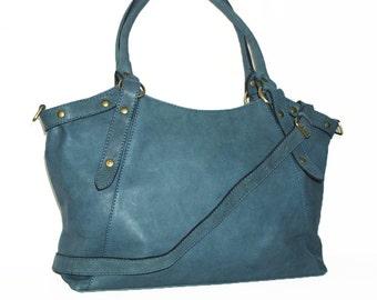 Soft Leather Bag Handbag Tote // Shoulder Cross Body Bag Elsa in blue
