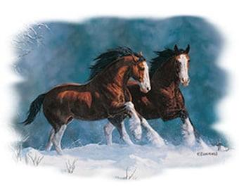Clydesdale Horses T Shirt Snow Kings Design Womans Short Sleeve T Shirt 19933D4