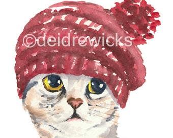 Cat Watercolour PRINT - Cat in a Knit Hat, Silver Tabby, Cat Illustration, 8x10 Art Print