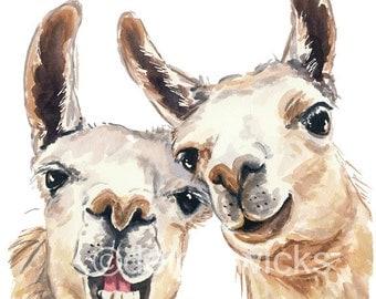 Llama Illustration - Watercolor PRINT, 11x14 Painting Print, Funny Watercolour, Selfie