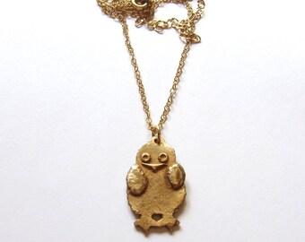 Gold owl necklace Bronze necklace Handmade baby bird pendant Artisan wildlife jewelry OOAK Whimsical woodland jewelry Keepsake owl jewelry