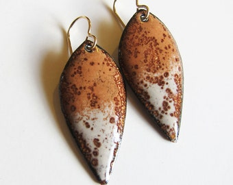 Brown enamel leaf earrings Earthy enameled dangles Gold wire drops Nature inspired bohemian artisan jewelry