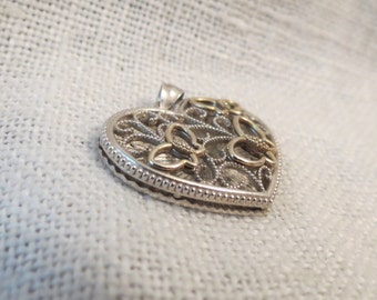Filigree & Open Work Butterflies and Heart Shadowbox Pendant Sterling and Gold Filled