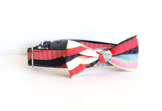 New Color! 2 colors to choose from, Dog Bow tie Collar Usagiteam designer dog collar, dog collar, dog wedding, dog party collar, Girl dog