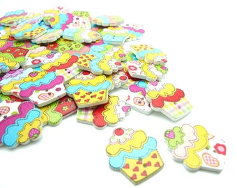 20 x Cake Shaped Wooden Buttons - Cake Painted Buttons - Large Buttons - 25mm