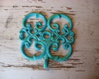 Blue Hook Distressed Vintage Scroll Patina Find Antique One of A Kind Wall Hook Farmhouse Cottage Refinished Style H-15