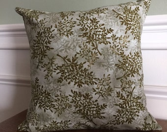 Throw Pillow Cover, Pillow Sham, Decorative Pillow, Green Nature Print, Designer Cotton Fabric - 14 16 18 inch - Green Leaf Print, 14""