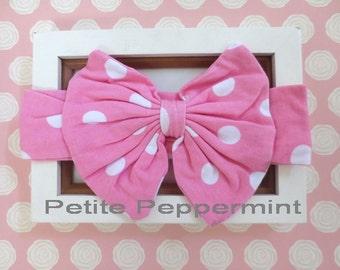 Pink baby headband,baby girl headband, baby head wrap, toddler headband - Baby Turban, Pink Bow Knot Baby headband, Baby Bow Headband