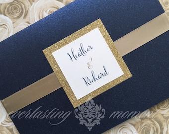 Bi-fold Glitter Accent Invitation with Monogram Cover, wedding, engagement announcement , baptism, invitation, formal