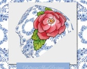 Beanie slouch hat lined Blue Rhapsody Alpen Rose design pattern for skiing running winter sports fashion by Patricia Shea Designs