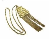Chunky Chain Necklace & Pendant - Retro Signed Kramer - Designer Signed Goldtone Jewellery