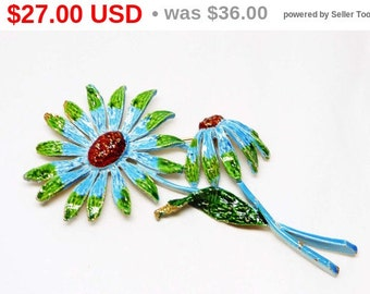Vintage Flower Brooch - Designer Signed ART - Blue & Green Enamel Pin - 1960's Flower Power Style Jewelry