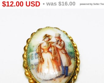 Handpainted Victorian Garden Brooch Pendant Made in Czechoslovakia - Porcelain Scene with Man & Woman - Romantic Vintage Pin
