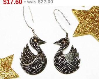 Sterling Silver Bird - Fish Hooks for Pierced Ears - Pierced Earrings Marked 925 - Dangling Vintage Love Birds