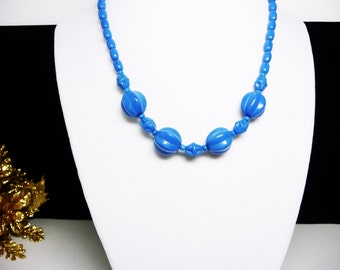 Vintage Blue Bead Choker Necklace - Art Glass Style Beads - 1930's - 1950's Mid Century Beaded Necklace