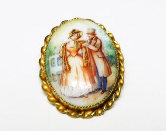 Handpainted Victorian Garden Brooch Pendant Made in Czechoslovakia - Porcelain Scene with Man & Woman - Romantic Vintage Pin