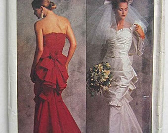 Vintage 1989 Bellville Sassoon Misses' Designer Dress, Wedding, Bridal Gown Vogue 2180 Sewing Pattern UNCUT Size 8