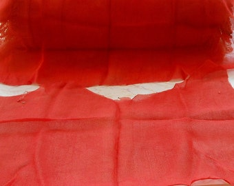 Antique Fabric 1920s Melon Silk Remnants Craft Supply