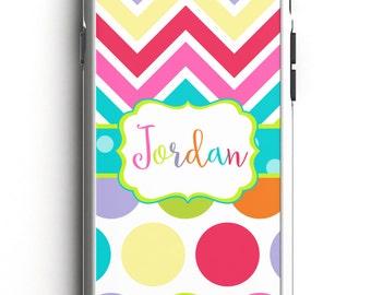 Personalized Phone Case - Rainbow Chevron Personalized Phone Case, Custom Phone Case, iPhone Case, Samsung Case