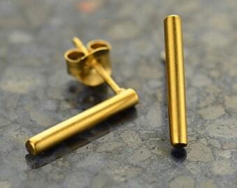 Gold Bar Stud Earrings, Gold Line Earrings, Gold Bar Studs, Gold Post Earrings, Minimal Earrings, Gold Stick Earrings, Stick Earrings