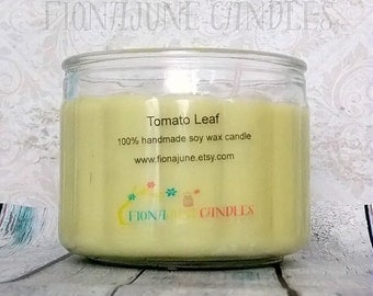Tomato Leaf Soy Candle, Double Wick Soy Jar Candle, Bright Green Vegan Candle