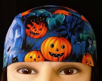 Handmade Skull Cap or Chemo Cap, Pumpkins in the Grave Yard, Surgical Cap, Hats, Do Rag, Alopecia, Head Wrap, Halloween, Owl, Cats, Caps