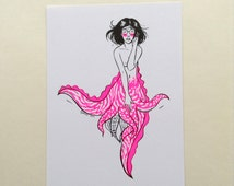 Obscure Mermaid Pin Up girl - Ivy cuttlefish octopus riso print