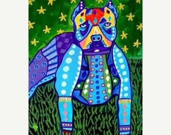Marked Down 50% - PITBULL ART  - Pit bull art Art Print Poster by Heather Galler (HG767)