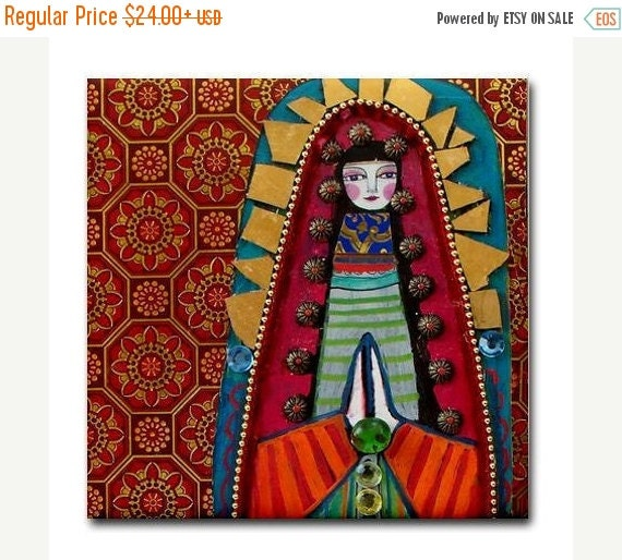 55% Off- Mexican Folk Art Ceramic Tile  Virgin of Guadalupe Art  Mexican Talavera Tiles Gift COASTER